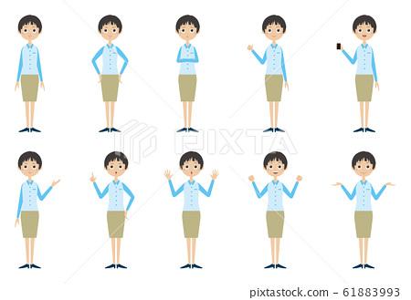 편의점 여성 점원 포즈 61883993