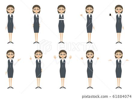 은행원 여자 포즈 61884074
