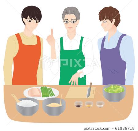 요리 교실에 다니는 남성 61886719