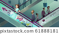 People on escalators in shopping center 61888181