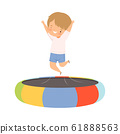 Happy Boy Bouncing on a Trampoline, Kid Trampolining and Having Fun, Active Children Leisure Vector Illustration 61888563