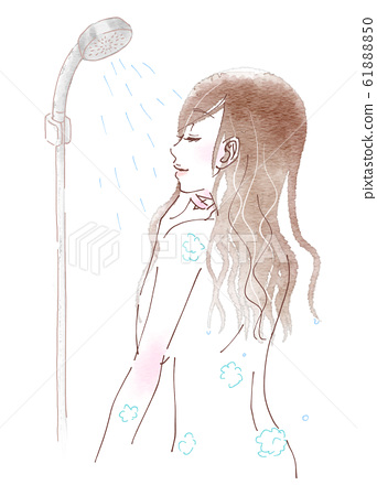 A young woman taking a shower 61888850