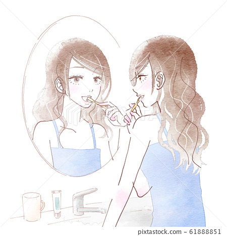 Young woman brushing teeth in front of a mirror 61888851