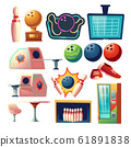 Bowling club equipment icons, design elements set 61891838