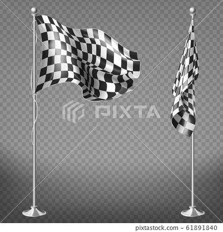 set of checkered racing flags on poles 61891840