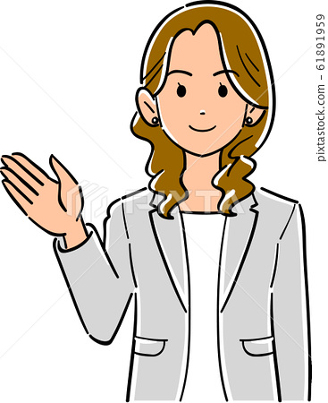 The upper body of a business woman wearing a gray jacket with her palms turned to the right 61891959