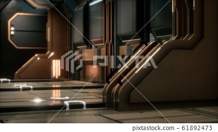 Sci-fi tunnel or spaceship corridor 61892473