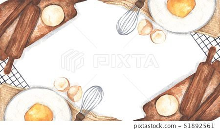 Baking or cooking background with kitchen utensils, flour and eggs. Watercolor illustration. 61892561