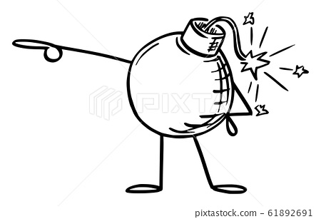 Retro Bomb Cartoon Character Pointing at Something by Hand. Vector Illustration 61892691