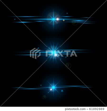 Set of elements glowing blue light effects 61892869