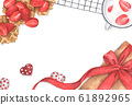Strawberry desserts with gift box and chocolate heart. Watercolor illustration. 61892965