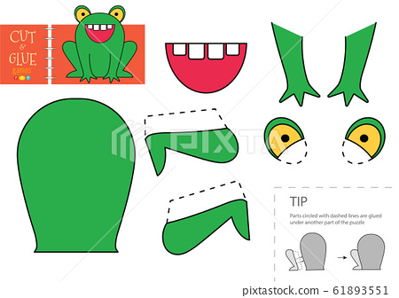 Cut and glue paper toy. Vector illustration, worksheet with cartoon cute frog character 61893551