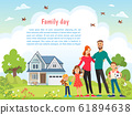 Happy father day, mother day, family holiday daughter and sons hold dad and mother. Concept greeting card flat vector illustration 61894638