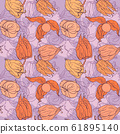 Decorative winter cherry pattern. Vector seamless background.  61895140