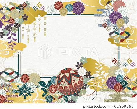 日本圖案背景素材復古流行 61899666