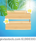 blank hanging wooden sing with frangipani tropical flowers and sunny sky background with palm leaf 61900393
