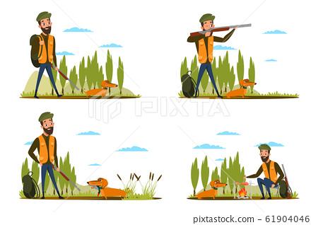 Duck hunt stages flat vector illustrations set 61904046