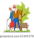 Elderly couple walk in park flat vector illustration 61905378