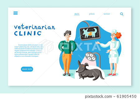 Veterinarian clinic landing page layout. Man with dog at veterinary office illustration 61905450