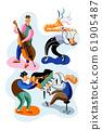 Jazz musicians flat vector characters set 61905487
