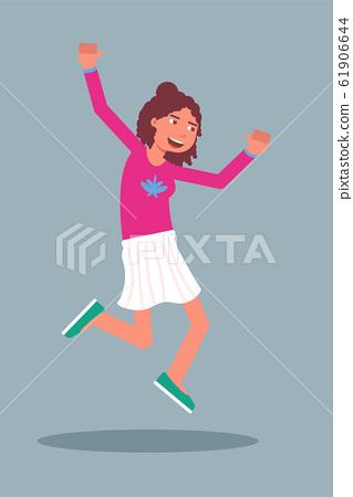 Happy woman jumping flat character 61906644