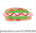 Delicious hot dog with vegetables With mayonnaise tomato sauce 61908280