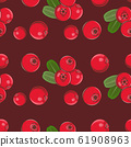 Colored seamless pattern with red cowberries in vintage style 61908963