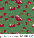 Seamless pattern with cherries on a green background in vintage style 61908965