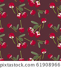 Colored seamless pattern with cherries in vintage style 61908966