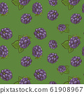 Seamless pattern with blackberries on a green background in vintage style 61908967