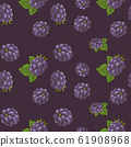 Seamless pattern with blackberries on a dark background in vintage style 61908968