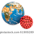 Earth Globe with coronavirus, 3D rendering 61909289