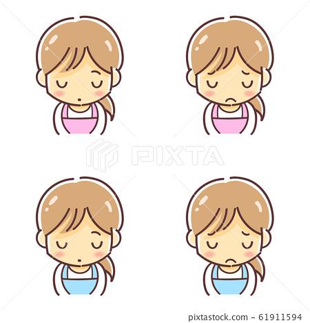 "Deformed illustration of ""Woman in apron lowering head"" (childcare worker, housewife, clerk, etc.) 61911594"