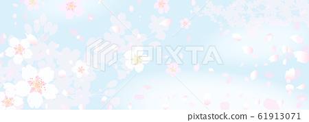蓬鬆夢幻般的櫻花和春天的天空 61913071