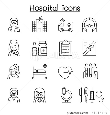 Hospital icon set in thin line style 61916585