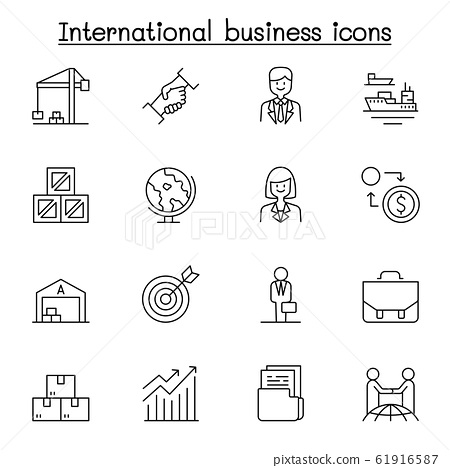 International business icon set in thin line style 61916587