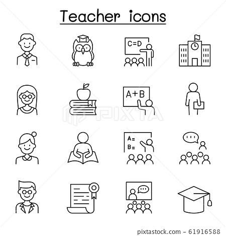 Teacher icon set in thin line style 61916588