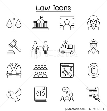 Law & Justice icon set in thin line style 61916591
