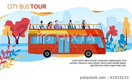 Touristic City Bus Tours Flat Vector Ad Banner 61918233