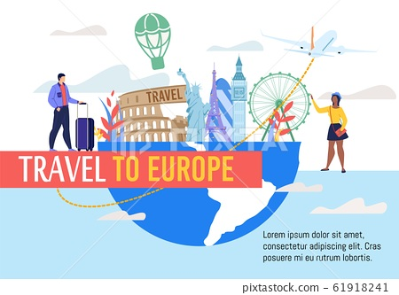 Vacation Travel to Europe Flat Vector Banner 61918241