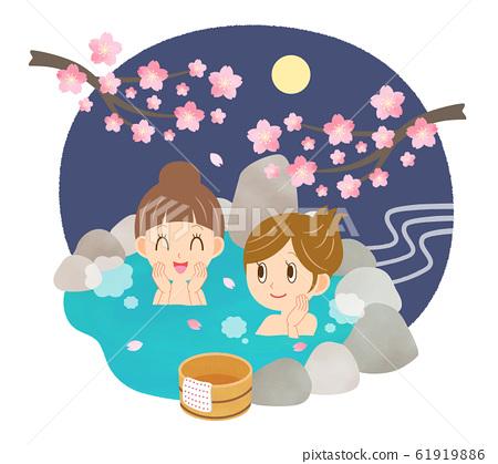 溫泉春季年輕女子女性朋友Ohanami溫泉夜晚 61919886