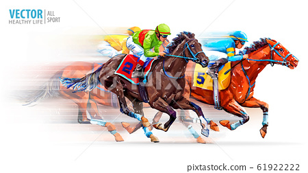 Three racing horses competing with each other, with motion blur to accent speed. Derby. Hippodrome. Racetrack. Sport. Vector illustration 61922222