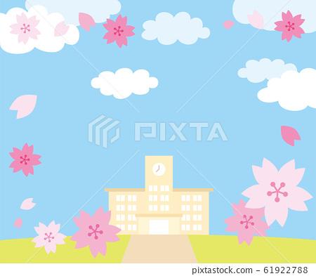 櫻花和學校建築景觀300x250尺寸橫幅 61922788