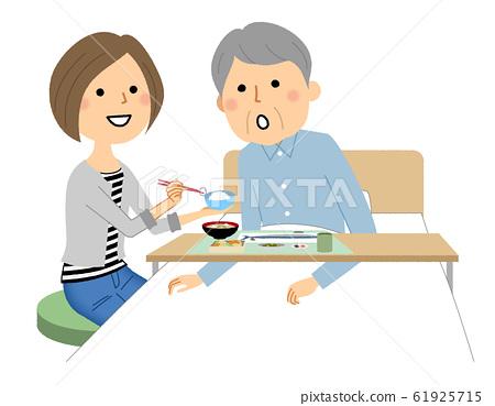 老年人吃飯,提供食物和護理 61925715