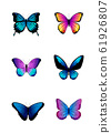 Set of different colored butterflies.  61926807