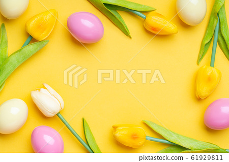 Colorful painted Easter egg on the top view 61929811