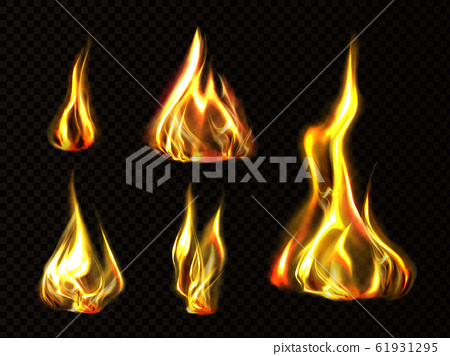Realistic fire, torch flame set isolated clip art 61931295