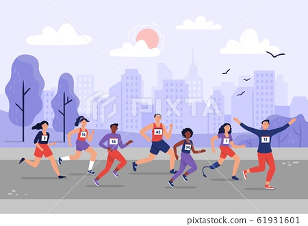 City marathon. People running together, athletic training and sport marathons runners vector illustration 61931601