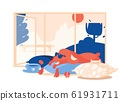 Concept scene with relaxing dog in interior. Pet 61931711