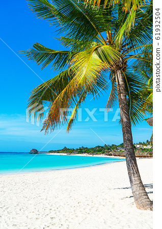 Panoramic view of a beautiful sunny day on sandy beach in the Maldives. 61932504